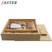 JASTER LOGO customized Maple Wood Photo Album usb+Box usb flash drive Pendrive 4GB 8GB 16GB 32GB Photography Wedding video gifts