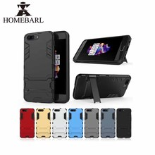 HOMEBARL 3D Anti-knock Anti-Bump Case For One Plus 1+5 Cover Silicone+Light Plastic Phone Holder Kickstand Iron Man Armor 4C42(China)