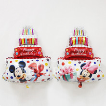 4pcs HAPPY BIRTHDAY Mini Size Minnie Mickey Cake Balloons Cartoon Cake Aluminum Film Balloon Children Toys Pink Blue Red baloes
