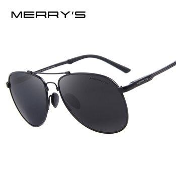 Aviação óculos de sol dos homens clássicos da marca merry's hd óculos polarizados condução de alumínio titanium tr90 óculos de sol ponte s'8716