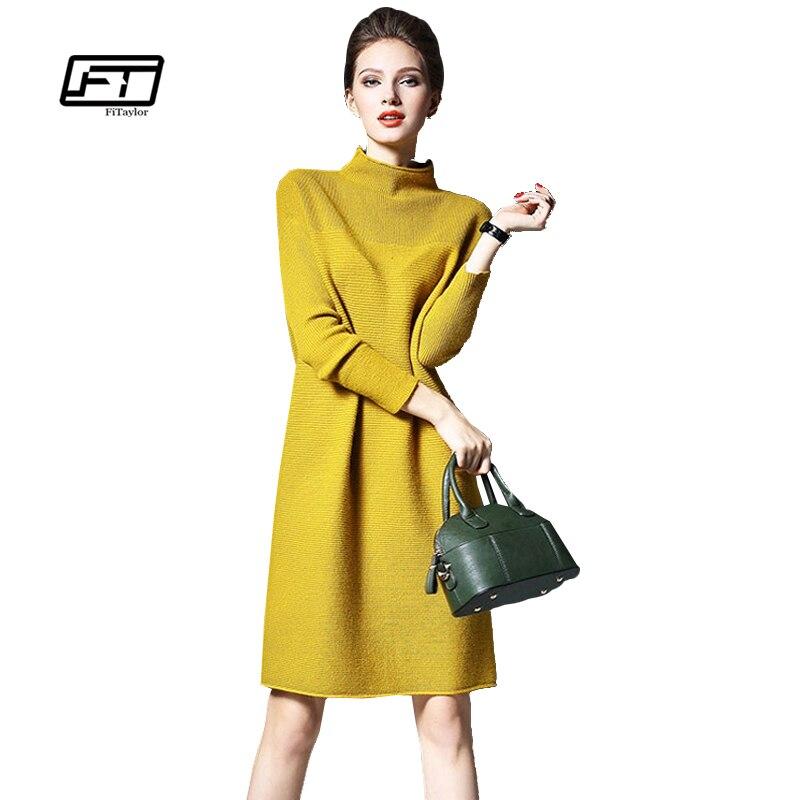 Fitaylor Women Knitted Dresses Autumn Winter Fashion Casual Loose Slim Female Dresses Warm Long Knitted Dress Plus Sizes 5xlÎäåæäà è àêñåññóàðû<br><br>