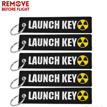 5PCS Nuclear Launch Key Chain Bijoux Keychain for Motorcycle Car Scooters Tag Embroidery Key Fob Holder Key-ring OEM chaveiro(China)