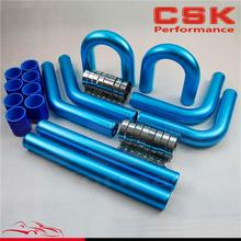 "2.25"" 57mm Universal Turbo Intercooler Piping Pipe Kit + Blue coupler + T-Clamps blue"