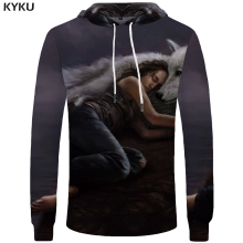 Buy KYKU Brand Wolf Clothing Women Hooded Sweatshirt Long Sleeve 3d Hoodies Womens Clothes Oversized Hoodie Casual Winter New for $14.86 in AliExpress store