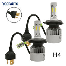 Automobiles H4 LED Headlight COB S2 Auto Car Headlights 72W 8000LM High Low Beam Lamp Xenon White 6500K Bulb 2Pcs(China)