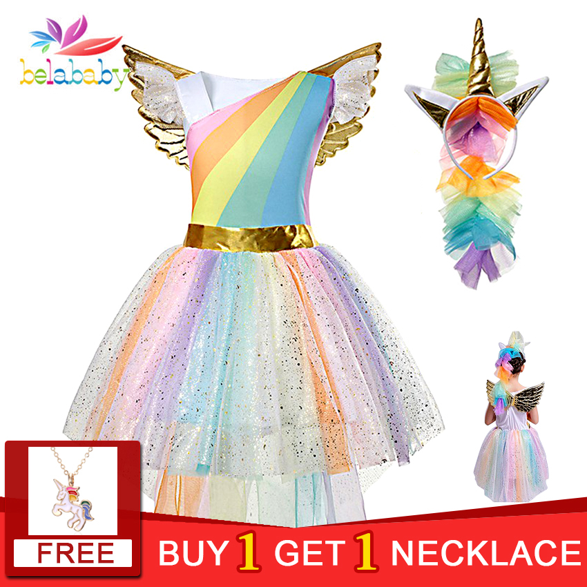 Girls Unicorn Costume Princess Dress Christmas New Year 2019 Party Cosplay Tutu Dress With Headband Xmas Dresses for kids Girls