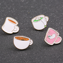 Timeless Wonder Enamel cute coffee milk cup mug Brooch Pin set Bijoux Trendy Pop DIY Gown gift for bag decoration 4pcs/set 4237