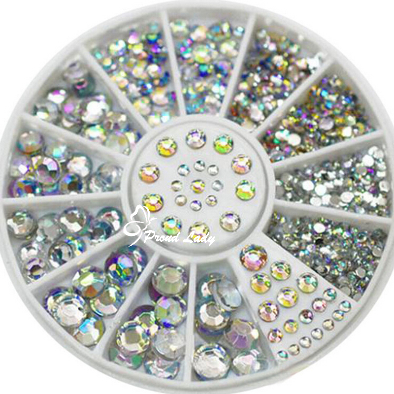 2017 Hot 5 Sizes 1.5-5mm White Multicolor Round Acrylic 3D Nail Art Decoration Glitter Rhinestones 1 Box(China (Mainland))