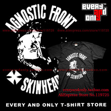 Agnostic Front Hardcore Band Skiwhead Face 100% Cotton T-shirt Tee T Clothing(China)