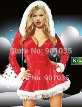 FREE SHIPPING Adult Lady Women Christmas Red Santa Claus Velvet Costume Outfit Dress(China)