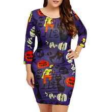 CharMma 2017 New Halloween Fashion Mini Sheath Autumn Dress Women Punk Skull Pumpkin Print O Neck Bodycon Dress Plus Size XL-5XL(China)