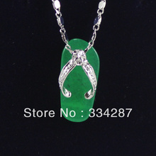 New Listed !Free Shipping MIni slippers-shaped Green  Jades   Pendant Chain