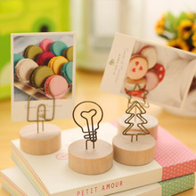 JDANCE Natural Wood Wood Memo Pincer Clips Paper Photo Clip Holder Wooden Small Clamps Stand for Office Supplies Accessories