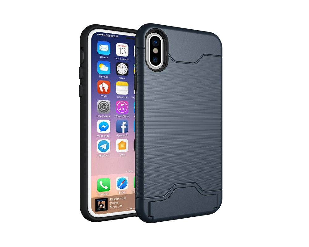 KEYSION Case For iphone X Shockproof cover for iPhone X Kickstand Armor Phone Bag Cases For iphone 10 Card Holder Coque 13