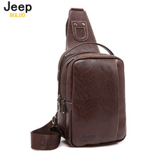 JEEP BULUO Brand Fashion Men Messenger Bags Leather Handbag Cross Body Shoulder Chest Bags Packs Water Shape Canvas 4Colors 9098