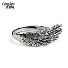Free shipping,925 silver opening ring pinky ring girls/boys thai silver accessories,single wing pattern,Nightclub accessories