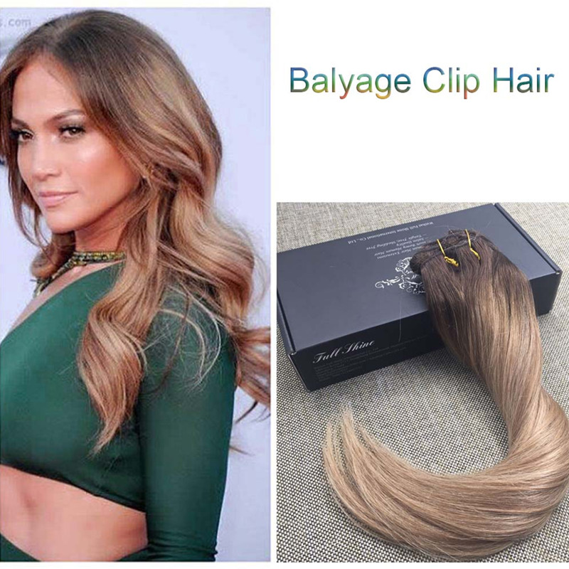 Full Shine Ombre Balayage Color #2#6#27 Virgin Remy Hair Clip in Human Hair Extensions Straight Brazilian Clip in Extensions<br><br>Aliexpress