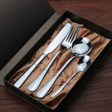 4pcs Cutlery Set with Gift Box Stainless Steel Table Knives Forks Spoons Tea Spoon for Family Service 1 Person Luxury Dinnerware