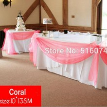 2015 New Fashion Christmas Party Decoration Coral 10M*1.35M  Banquet chair sashes  Organza Swag Wedding Table Swags