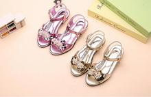 Girl sandals 2017 summer new princess shoes fashion bow children's high heels fish mouth T-shaped sandals JUNSHANANGEL