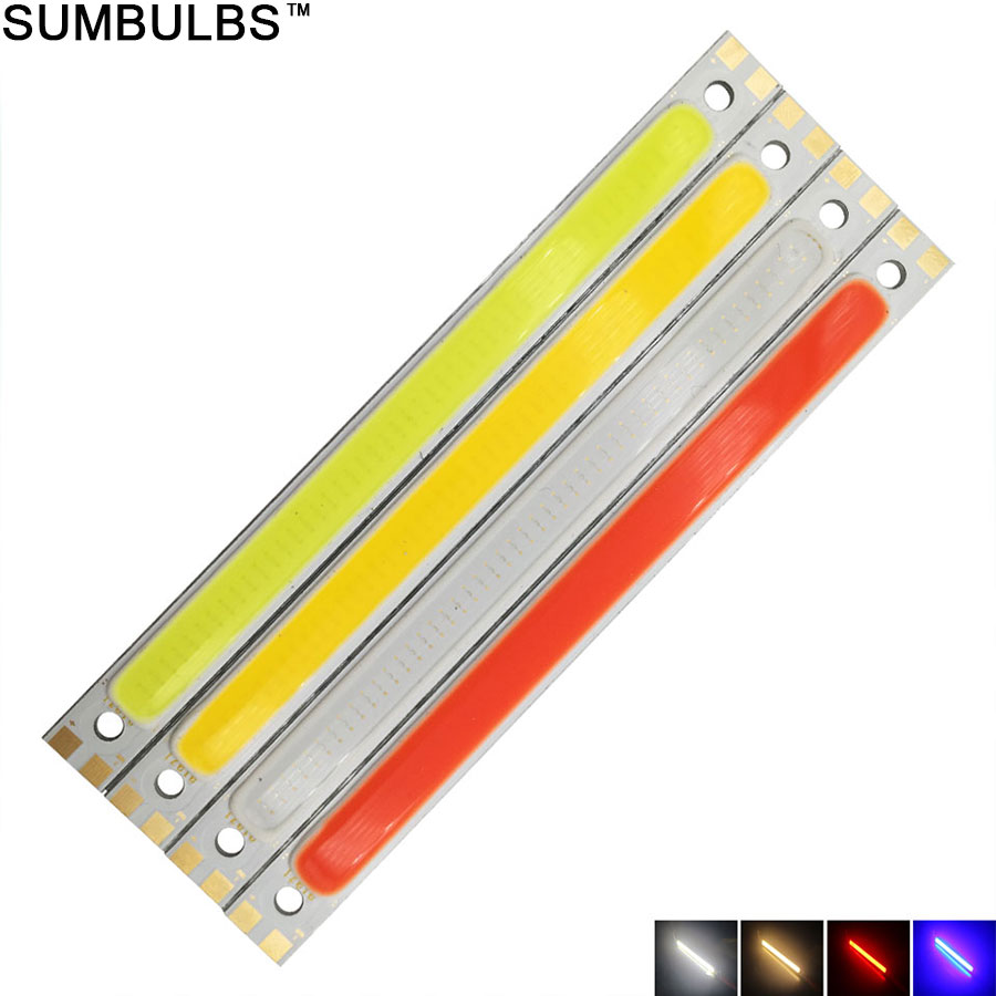 Sumbulbs 120x10MM 10W COB Light LED Strip Lamp 1000LM for Work Table Car Lights DIY Blue Red Warm Cold White 12CM LED Bar Bulb(China (Mainland))
