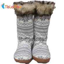 ToLaiToe Woollen Floor Shoes Winter Artificial fur Long Home Slippers Women House shoes Knitting Floor Slippers Deerskin Slipper(China)