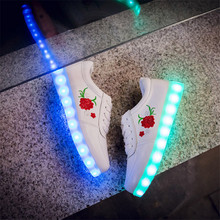 2017 New Kids Boys Girls USB Charger Led Light Shoes Chinese Cross Embroidered Rose Peony sneaker for children(China)