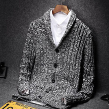 Men sweater 2017 new spring and autumn thin cardigan turn-down collar sweater male slim V-neck knitted coat blue gray(China)