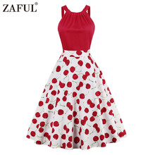ZAFUL vintage dress 1950s style spring summer cherry print red women party dress 2017 new elegant female vintage dresses autumn(China)