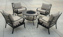 5-piece Best-selling cast aluminum Outdoor furniture,BBQ table and chair transport by sea