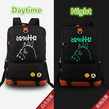 2017 Japanese Anime Kawaii Tonari no Totoro Emoji Luminous Printing Women Canvas Backpack Mochila Escolar Children School Bags