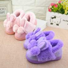Children Girls Winter Slippers Cute Bow Home Cotton Shoes Kids Baby Slippers Indoor Warm Plush Shoes Mule Fashion