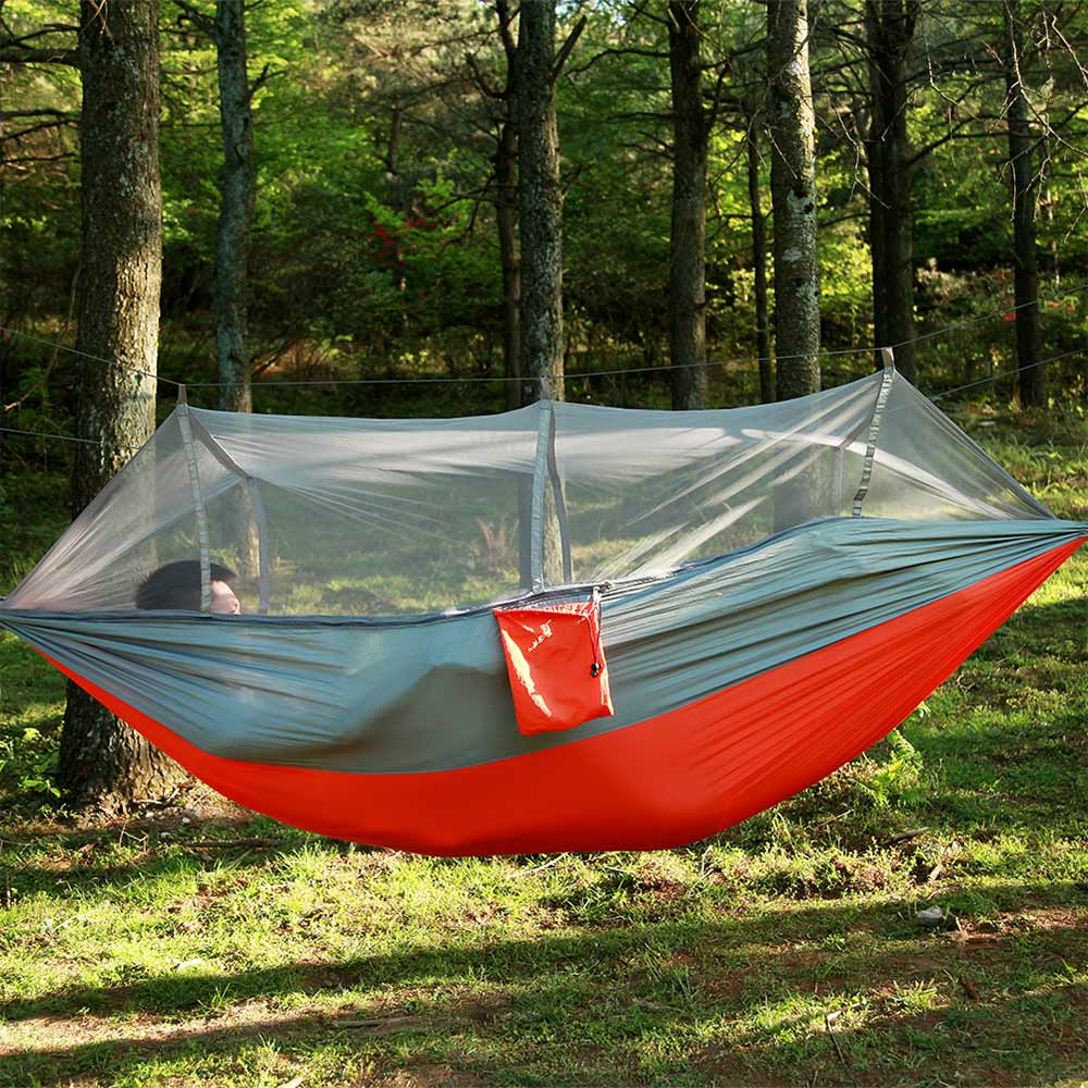 Garden Hanging Nylon Bed and Mosquito Net Outdoor Travel Jungle Camping Tent Hammock Camping Swing Hanging Bed 4 Color 260*140CM<br>