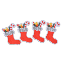 FUNIQUE 10Pcs/Set Stocking Patch Iron On Embroidered Garment Materials Christmas Decoration Motif Appliques DIY Accessory Clothe