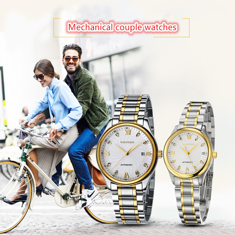 GUANQIN Luxury Lovers Watch Top Brand Women Men Watches Waterproof Sapphire Crystal 316L Stainless Steel Couple Watches 2 Pieces (1)