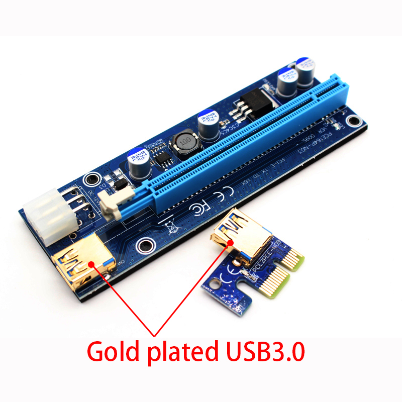 009S PCIE RISER 6PIN 16X for BTC mining with LED USB Gold Port-6 (6)