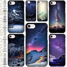 Snow Mountain Chalet Aurora Milky Way Stars Black Scrub Case Cover Shell for iPhone Apple 4 4s 5 5s SE 5c 6 6s 7 Plus