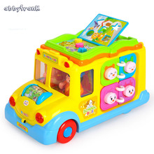 Abbyfrank Electronic Plastic Mini Smart School Bus Car Model Musical Flashing Early Educational Crawling Toys For Baby Kids(China)