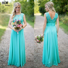 Cheap Long Bridesmaid Dress 2017 Wholesale Sleeveless A Line Lace Top Mint Green Bridesmaid Dresses Fast Shipping