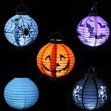 Halloween Pumpkin Lantern Decoration LED Paper Light Hanging Lamp Props Outdoor Party Supplies --M25