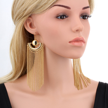 Gold Color Chain Tassel Drop Dangle Long Earrings For Women Big Large Brinco grande Statement Bohemian Party Jewelry Colgantes(China)