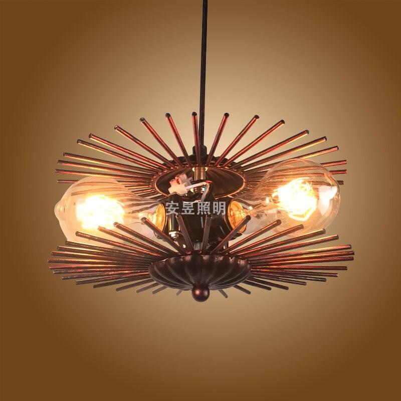 Creative retro cabin small sun 3 heads Pendant lamp American E27 mirror bedside Pendant light for Restaurant Coffee Shop Bedroom<br>