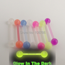 5pcs Free Shipping 1.6*16*5/5mm mixed colors glow in the dark flexible acrylic piercing barbell tongue ring(China)