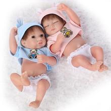 10 inch Simulation Boys MINI Dolls, Lifelike Can Bath Baby Reborn Doll Full Silicone Vinyl Soft Body juguetes bebe Para Menina
