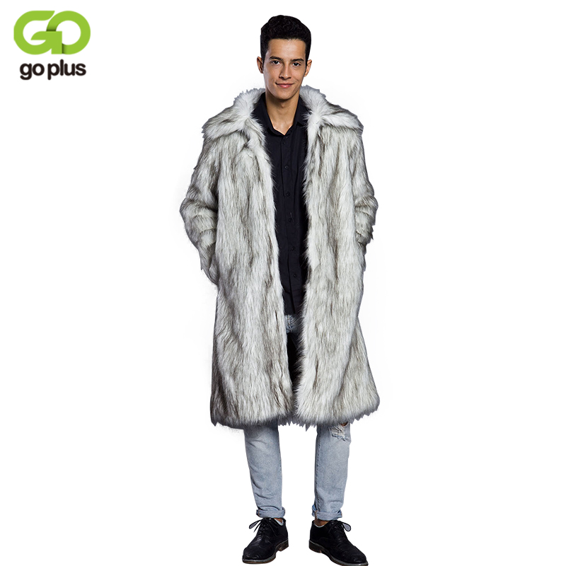 GOPLUS Men Fur Coat Winter Faux Fur Outwear Long Jackets Men 2019 Fashion Casual Punk Parka Jacket Fur Turn-down Collar Overcoat