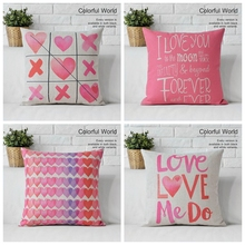 Pillow case Decoration Linen Cotton Love Valentine Gift Pink 3D Printing Cute  Home Decor Printed Cheap Sofa Cushions Cover
