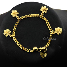1pcs 3mm Curb Chain Yellow Gold Filled Plated Flowers Bracelet Kids Baby Girls Gold Chain Jewelry