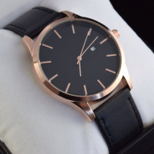 Rose Gold Minimal Design Watch Japan Quartz Movement Genuine Leather Strap