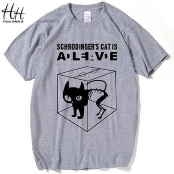 HanHent A Teoria Do Big Bang schrodinger Gato Camisetas Dos Homens Dos Ganhos engraçado Algodão de Manga Curta T-shirts 2016 Novo Estilo do Verão T camisa