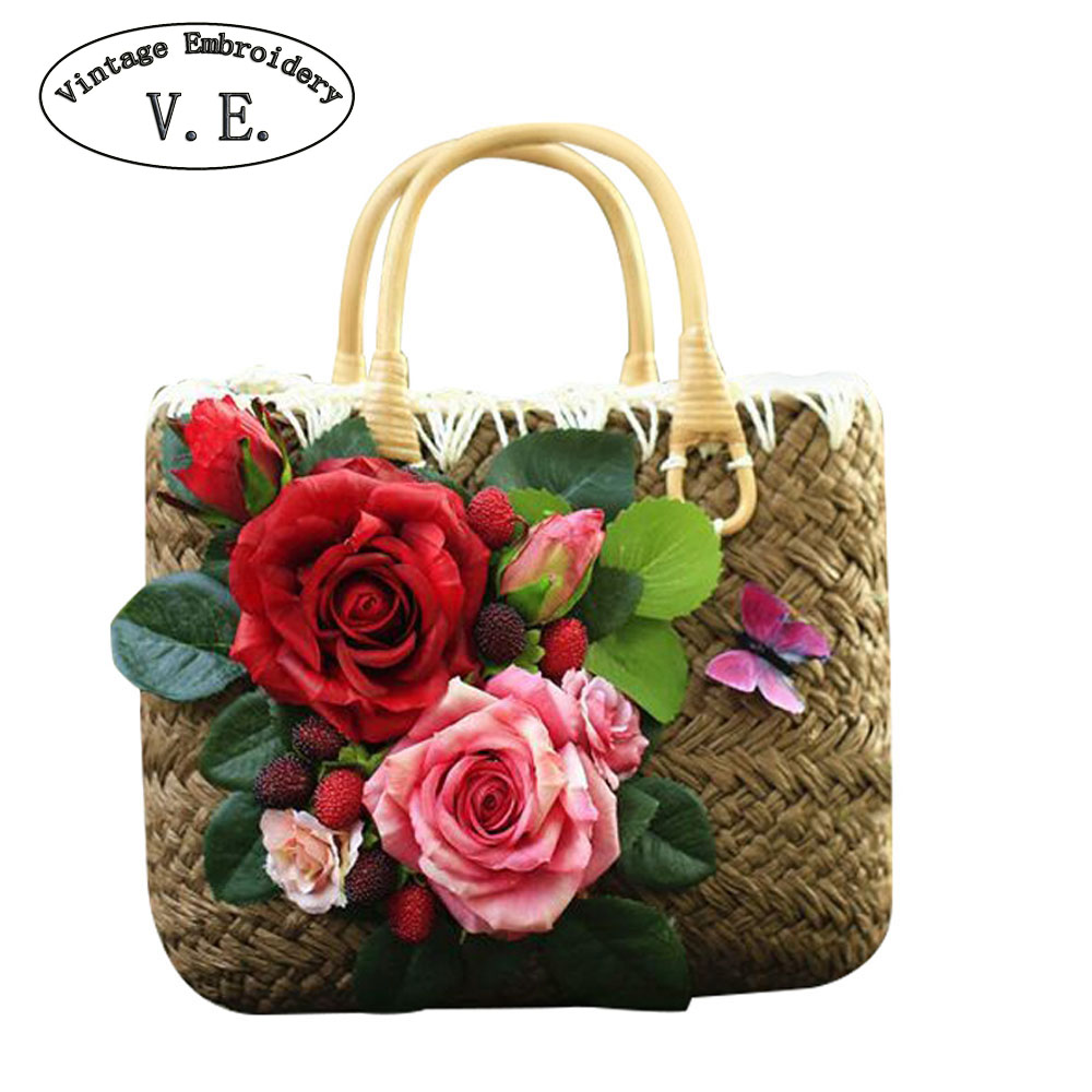 Women Straw Bag Retro Handmade Womens Holiday Bag Woven DIY Rose Flower Weaving Travel Beach Bohemian Boho Shoulder Bags<br>